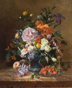 Reproduction oil paintings - David Emil Joseph de Noter - A Still Life With Flowers And Fruit