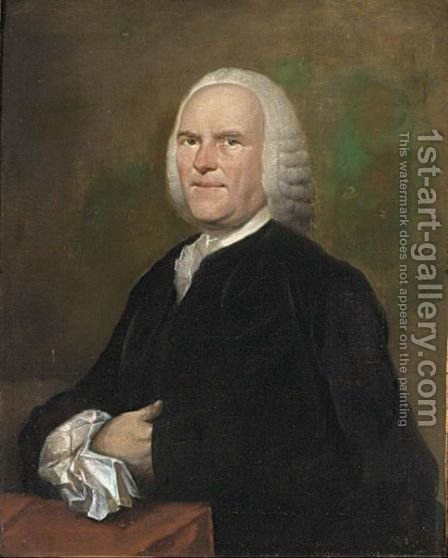 A Portrait Of Christiaan Aansorgh, Aged 58, Half Length, Wearing A Black Costume With White Lace Collar And Sleeves by Aert Schouman - Reproduction Oil Painting