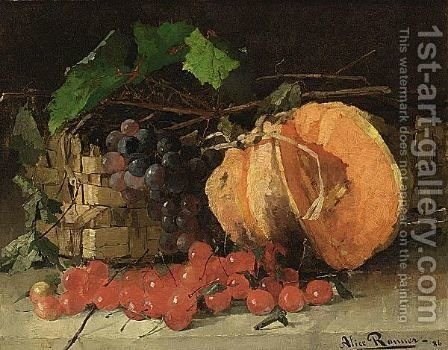 A Still Life With A Pumpkin, Cherries And A Bunch Of Grapes by Henriette Ronner-Knip - Reproduction Oil Painting