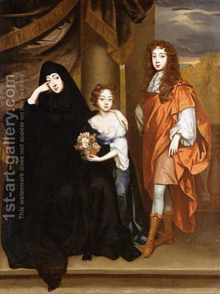 Portrait Of Elizabeth Countess Of Essex (1636 - 1717) With Her Son Algernon And Daughter Anne by (after) William Wissing Or Wissmig - Reproduction Oil Painting
