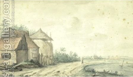 Farmhouse With Haystacks by Alexis Nicolas Perignon - Reproduction Oil Painting