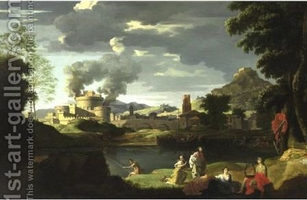 Italianate Landscape With Figures By A River And A Fortress Beyond by (after) Nicolas Poussin - Reproduction Oil Painting