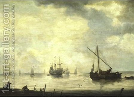 View Of A Harbor by (after) Simon De Vlieger - Reproduction Oil Painting
