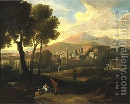 Figures In A Landscape by (after) Gaspard Dughet - Reproduction Oil Painting