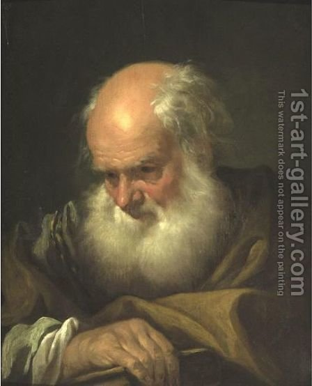 Portrait Of An Old Bearded Man Holding A Book by (after) Giovanni Battista Piazzetta - Reproduction Oil Painting