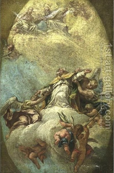 Apotheosis Of A Bishop by (after) Francesco Fontebasso - Reproduction Oil Painting