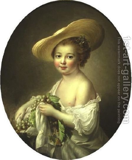 Portrait Of A Girl Holding Grapes by (after) Franois-Hubert Drouais - Reproduction Oil Painting