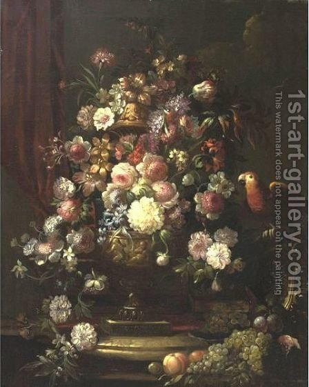 Still Life With Flowers, Grapes And Parrot by (after) Jean-Baptiste Monnoyer - Reproduction Oil Painting