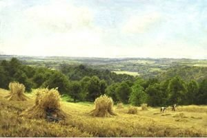 Reproduction oil paintings - John Clayton Adams - Haystacks In Sussex