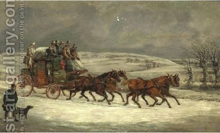 Mail Coach In The Snow by (after) Henry Samuel Jun Alken - Reproduction Oil Painting