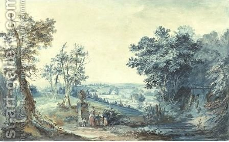 Extensive Landscape With Figures Admiring An Antique Vase by (after) Noel, Alexandre Jean - Reproduction Oil Painting