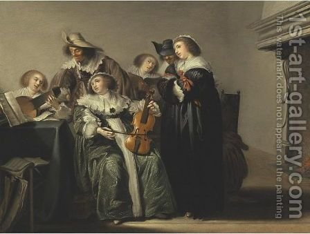 A Musical Company by (after) Pieter Codde - Reproduction Oil Painting