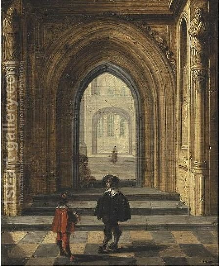 Church Interior With Figures by (after) Jan Van Vucht - Reproduction Oil Painting