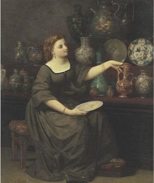 A Lady Seated Admiring A Vase