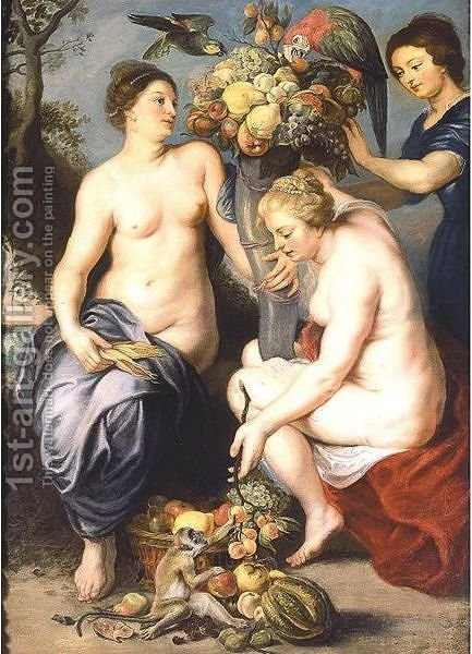 Nymphs Filling The Horn Of Plenty by (after) Sir Peter Paul Rubens - Reproduction Oil Painting