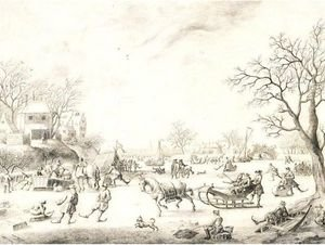 A Winter Landscape With Skaters, Kolf Players And Elegant Townsfolk On A Frozen River