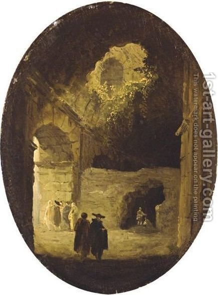 Figures Under Arcades by Hubert Robert - Reproduction Oil Painting