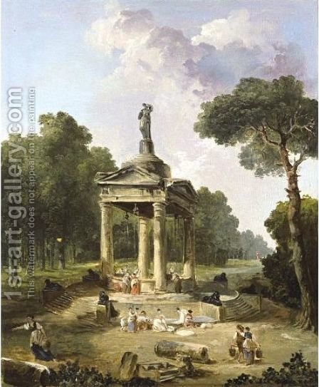 A Capriccio With Washerwomen Around A Classical Fountain by Hubert Robert - Reproduction Oil Painting