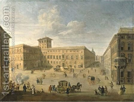View Of The Palazzo And Palazzeto Venezia, Rome, Looking West by (after) Paolo Anesi - Reproduction Oil Painting