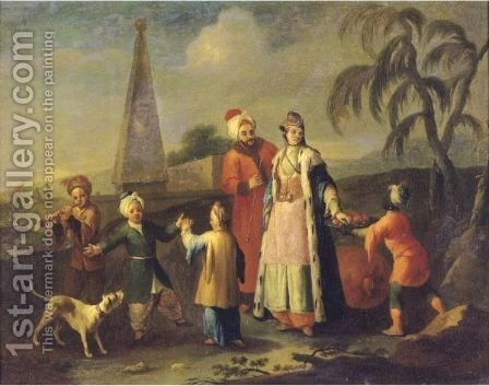 A European Family In The Levant by (after) Etienne Liotard - Reproduction Oil Painting
