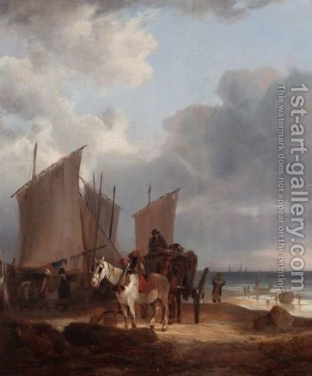 Loading Fish, Near Southampton by (after) William Joseph Shayer - Reproduction Oil Painting