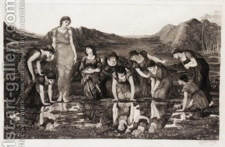Mirror Of Venus by (after) Sir Edward Coley Burne-Jones - Reproduction Oil Painting