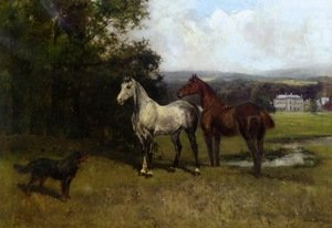 Famous paintings of Horses & Horse Riding: The Colonel's Horses And Collie With Huntroyde Hall Beyond