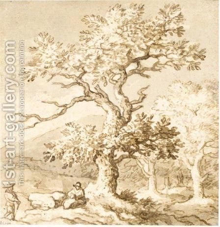Landscape With Figures Resting By A Tree by Allaert van Everdingen - Reproduction Oil Painting