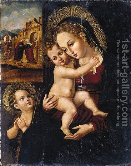 The Virgin And Child With The Infant Saint John The Baptist, The Meeting At The Golden Gate Beyond by (after) Antonio Vazquez - Reproduction Oil Painting
