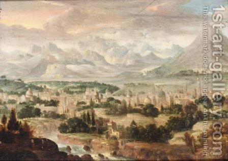 A View Of A Town With Mountains Beyond by (after) Herri Met De Bles - Reproduction Oil Painting