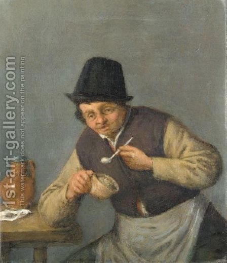 A Peasant With His Pipe by (after) Adriaen Jansz. Van Ostade - Reproduction Oil Painting