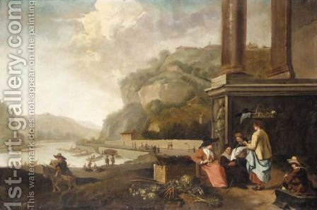 An Extensive Italianate River Landscape With Vegetable Sellers Amongst Classical Ruins by (after) Hendrick Mommers - Reproduction Oil Painting
