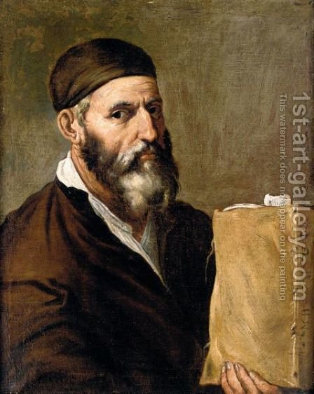 A Philosopher Holding A Book by (after) Jusepe De Ribera - Reproduction Oil Painting