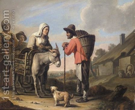 A Peasant Family With A Donkey And A Dog Before A Cottage by (after) Louis Lenain - Reproduction Oil Painting
