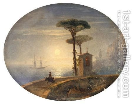 Sunset On The Coast by Ivan Konstantinovich Aivazovsky - Reproduction Oil Painting