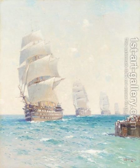 Tall Ships On The Ocean by Aleksei Vasilievich Hanzen - Reproduction Oil Painting