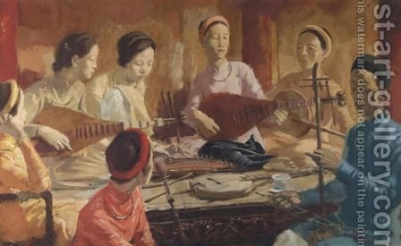 Family Concert In Hue, Vietnam by Alexander Evgenievich Yakovlev - Reproduction Oil Painting