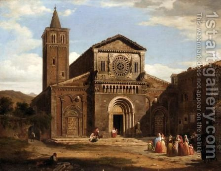 An Italian Church With Figures In The Foreground by (after) David Roberts - Reproduction Oil Painting