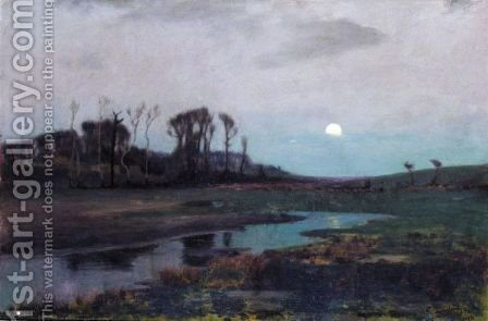 Moonlit Landscape by Algernon Mayon Talmage - Reproduction Oil Painting