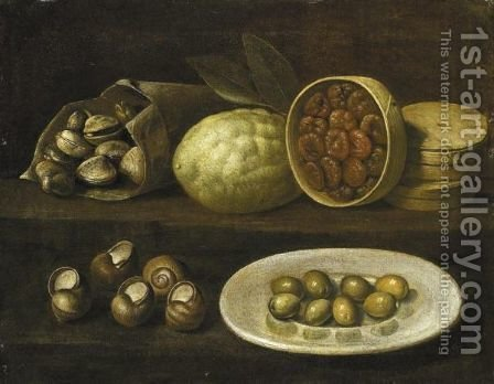 Natura Morta Con Conchiglie, Olive, Limone E Fichi Secchi by (after) Paolo Antonio Barbieri - Reproduction Oil Painting