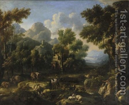 Paesaggio Laziale Con Mulino, Figure E Armenti by (after) Johann Melchior Roos - Reproduction Oil Painting