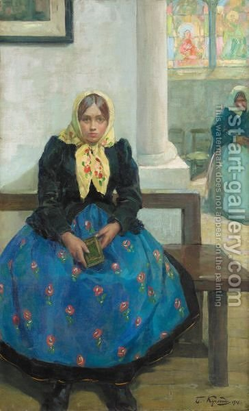 Girl In A Church by (after) Boris Kustodiev - Reproduction Oil Painting
