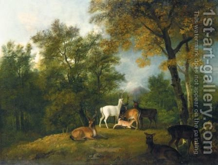 Red Deer Grazing Beneath Trees by (after) George Barret - Reproduction Oil Painting