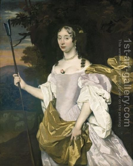 Portrait Of A Lady As A Shepherdess by (after) Sir Peter Lely - Reproduction Oil Painting