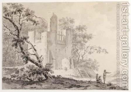 A Ruined Castle With Three Figures In The Foreground by J. Van Renselaar - Reproduction Oil Painting