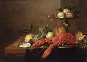 A Still Life With A Lobster On A Pewter Plate, A Silver Tazza With Peaches And Cherries