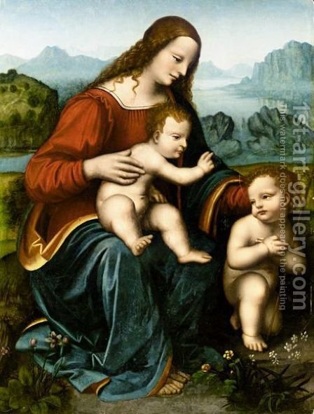 The Madonna And Child With The Infant Saint John The Baptist 2 by (after) Leonardo Da Vinci - Reproduction Oil Painting