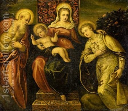 The Madonna And Child With Saint Jerome And A Female Saint by (after) Jacopo Tintoretto (Robusti) - Reproduction Oil Painting