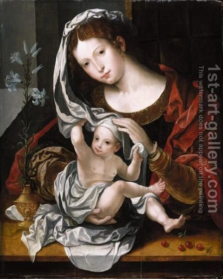 Virgin And Child 2 by (after) Jan (Mabuse) Gossaert - Reproduction Oil Painting
