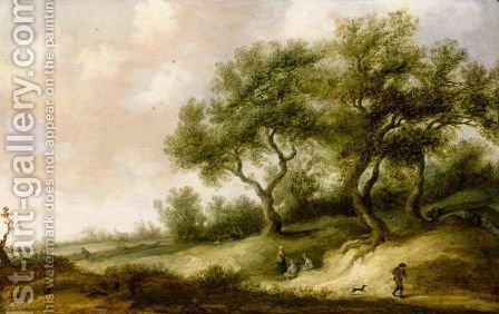A Dune Landscape With A Traveller And His Dog, Further Figures And A Church Beyond by (after) Pieter De Neyn - Reproduction Oil Painting